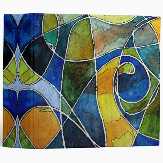 Abstract Watercolor Pen & Ink Vinyl Binder