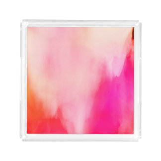 Abstract Watercolor Pink Coral Orange Colorful Acrylic Tray