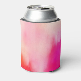 Abstract Watercolor Pink Coral Orange Colorful Can Cooler