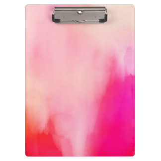 Abstract Watercolor Pink Coral Orange Colorful Clipboard