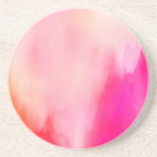 Abstract Watercolor Pink Coral Orange Colorful Coasters