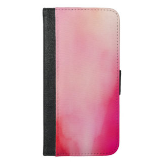 Abstract Watercolor Pink Coral Orange Colorful iPhone 6/6s Plus Wallet Case