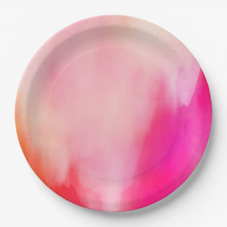 Abstract Watercolor Pink Coral Orange Colorful Paper Plate