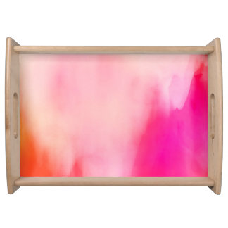 Abstract Watercolor Pink Coral Orange Colorful Serving Tray