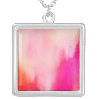 Abstract Watercolor Pink Coral Orange Colorful Silver Plated Necklace