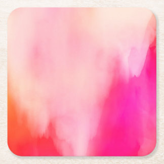 Abstract Watercolor Pink Coral Orange Colorful Square Paper Coaster