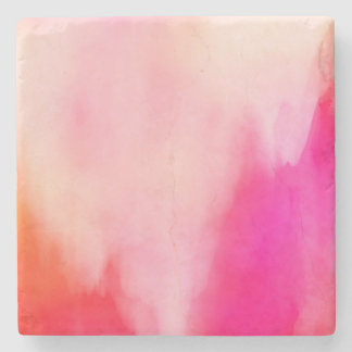 Abstract Watercolor Pink Coral Orange Colorful Stone Beverage Coaster