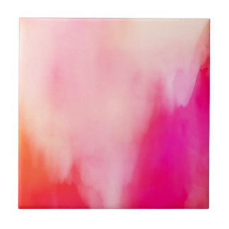 Abstract Watercolor Pink Coral Orange Colorful Tile