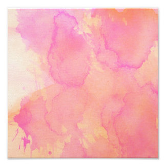 Abstract Watercolor Pink Orange Apricot Yellow Photo Print