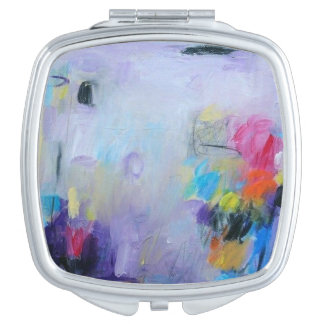 Abstract watercolor print on charger hub makeup mirror