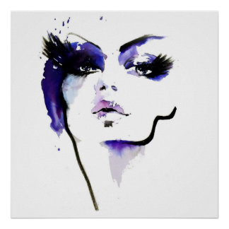 Abstract Watercolor purple woman makeup branding Poster