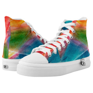 Abstract Watercolor Rainbow High Top Shoes