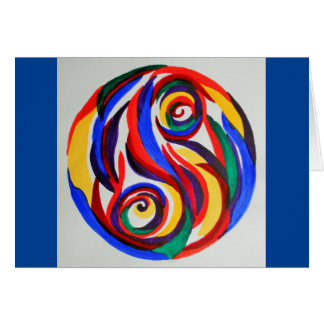 Abstract watercolor rainbow yin yang card