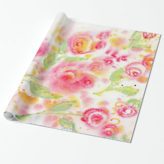 Abstract Watercolor Roses Wrapping Paper