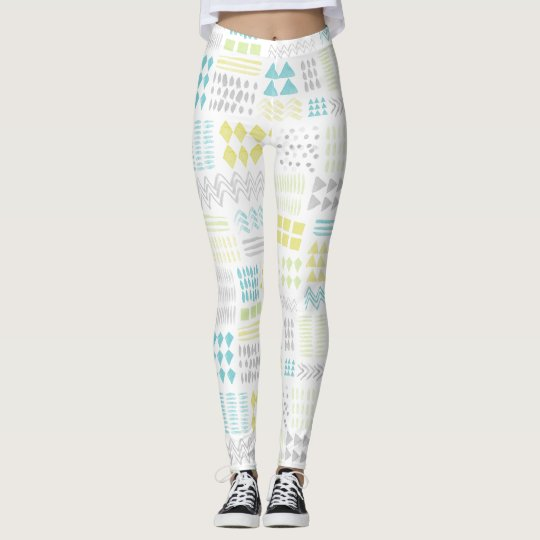 Abstract Watercolor Shapes Pattern Leggings