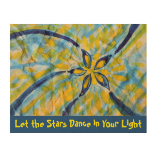 Abstract watercolor spinning, dancing star/flower wood prints