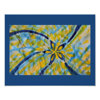 Abstract watercolor spinning star/flower poster