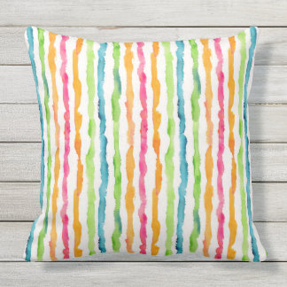 Abstract Watercolor Stripes Outdoor Pillow