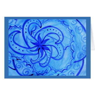Abstract watercolor swirling mandala in blue card