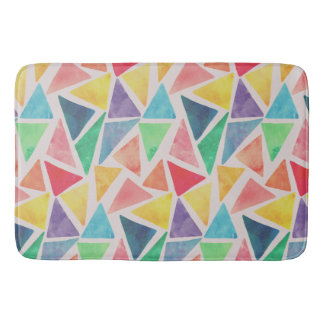 Abstract Watercolor Triangles | Bath Mat