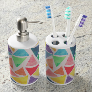 Abstract Watercolor Triangles Bathroom Essentials Bathroom Set