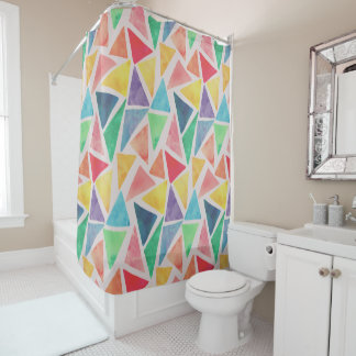 Abstract Watercolor Triangles | Shower Curtain