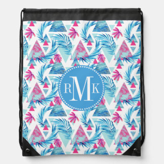 Abstract Watercolor Tropical Leaf Pattern Drawstring Bag