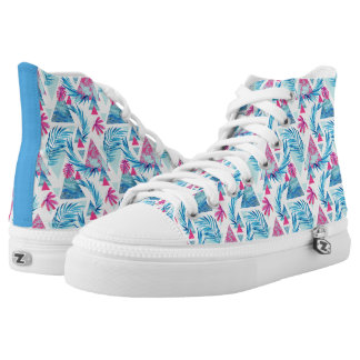 Abstract Watercolor Tropical Leaf Pattern High Tops