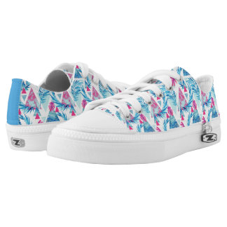 Abstract Watercolor Tropical Leaf Pattern Low-Top Sneakers