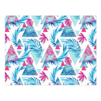 Abstract Watercolor Tropical Leaf Pattern Postcard