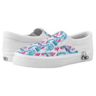 Abstract Watercolor Tropical Leaf Pattern Slip-On Sneakers