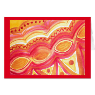 Abstract watercolor with warm ethnic feel card