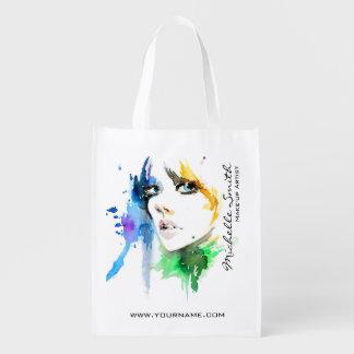 Abstract Watercolor woman makeup artist branding Reusable Grocery Bag