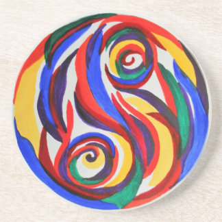 Abstract watercolor yin yang rainbow coaster