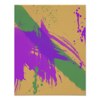 Abstract Watercolors Paint Purple Green Gold Poster