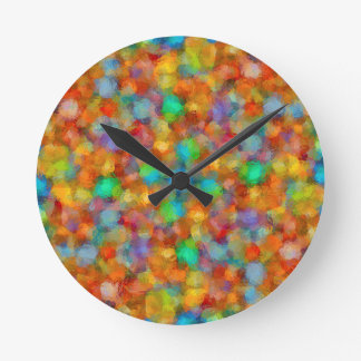 Abstract Watercolour Bubbly Pattern Round Clock