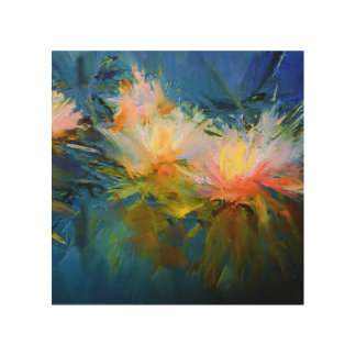 Abstract Waterlilies Oil Painting Wall Art Print Wood Prints