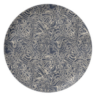 Abstract Watery Blue Waves and Swirls Pattern Party Plates