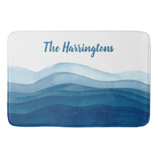 Abstract Waves custom name bath mats