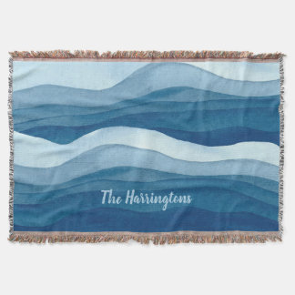 Abstract Waves custom name throw blanket
