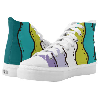 Abstract Waves Pattern High Tops