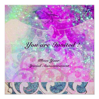 """ABSTRACT WAVES Teal Blue,Purple Pink Wedding 5.25"""" Square Invitation Card"""