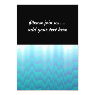 "Abstract Waves Turquoise Blue 5"" X 7"" Invitation Card"