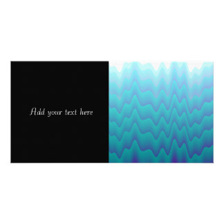 Abstract Waves Turquoise Blue Personalized Photo Card