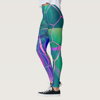 Abstract Web Colorful Geometric Leggings