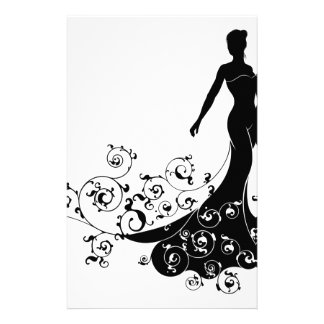 Abstract Wedding Bride Silhouette Stationery