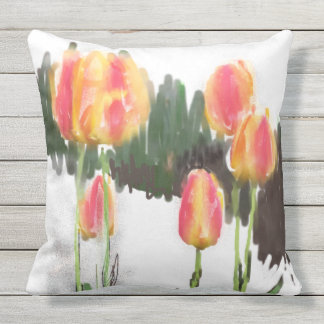 Abstract Wet Tulip Outdoor Pillow