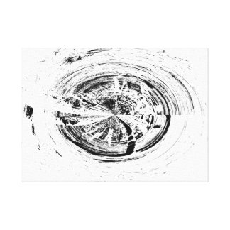 Abstract White and Black Circle Design Canvas Print