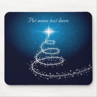 Abstract White  Christmas Tree on Glowing Blue Mouse Pad