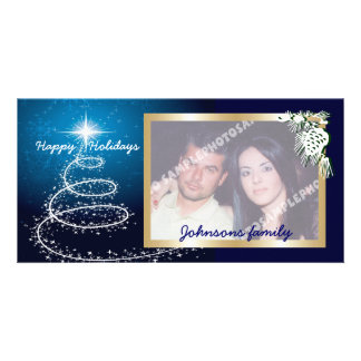 Abstract White Christmas Tree On Glowing Blue Photo Card